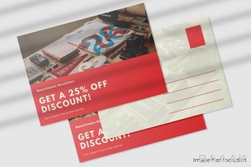 موکاپ کارت پستال تخفیف روی محصولات به همراه سایه