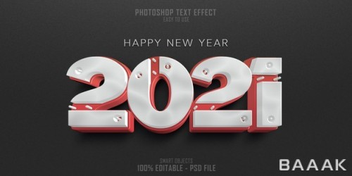 قالب افکت متنی سه بعدی طرح سال نو ۲۰۲۱