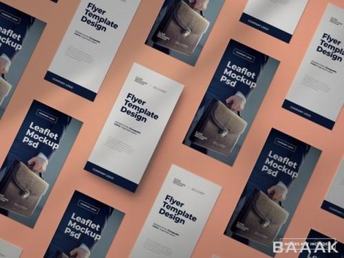 موکاپ تراکت های تبلیغاتی جذاب با رنگ های قابل تغییر