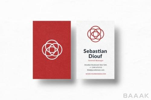 قالب کارت ویزیت خلاقانه با تم قرمز و سفید رنگ