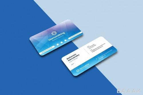 قالب کارت ویزیت خلاقانه با تم سفید و آبی رنگ