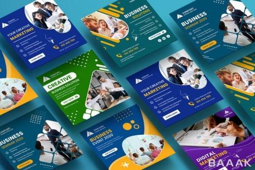 مجموعه 6تایی از قالب پست اینستاگرام با موضوع بازاریابی و کسب و کار