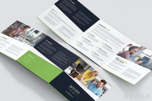 بروشور مربعی سه لا با موضوع کسب و کار آنلاین