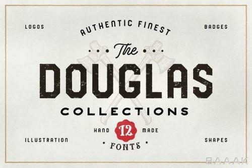 مجموعه کامل شامل 12 فونت دست نویس داگلاس، 24 لوگو متنی جذاب و 26 نشان