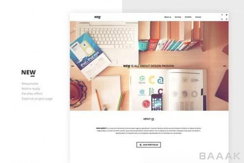 قالب صفحه وبسایت با طراحی خلاقانه و ریسپانسیو و افکت پارالاکس نوشته شده با html, css, js