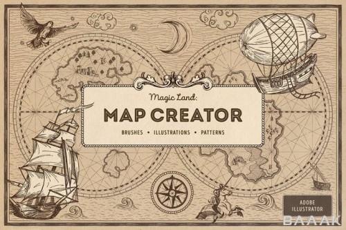 ابزار ساخت نقشه کارتونی و جادویی با استایل قدیمی و وینتیج با 15 پترن یکپارچه، 15 براش وکتوری و 65 المان و نماد ایلوستریتور