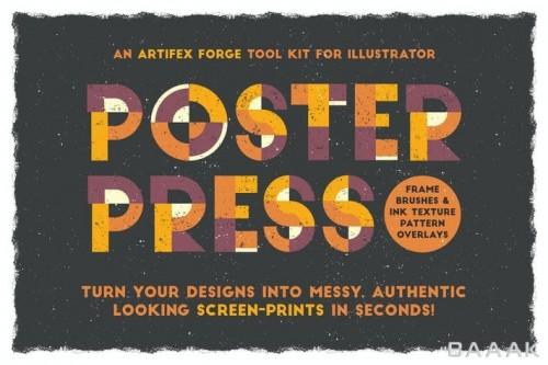 مجموعه 11 براش فریم، 12 تکسچر و 12 استایل گرافیکی جذاب برای ساخت پوستر با طراحی شلوغ و بی نظم