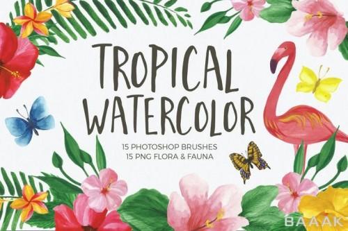 مجموعه جذاب فوتوشاپ شامل 15براش فوتوشاپ با طرح نقاشی آبرنگ، 15 المان گل و گیاه و حیوانات و دو پس زمینه گل و گیاه