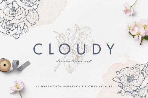 مجموعه 40 براش طرح آبرنگ فتوشاپ به همراه 9 تصویر وکتوری گل