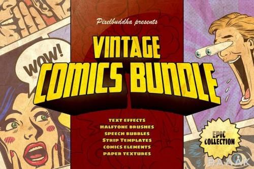 مجموعه استایل فتوشاپ با 12 افکت متن کمیک بوک،51 براش سایه رنگ، 75 المان کارتونی کمیک بوکی (حباب های گفتگو)، 10 فریم و 6 تکسچر کاغذی