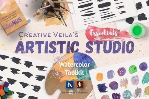 ابزار تدوین حرفه ای با طرح آبرنگ برای فوتوشاپ و ایلاستریتور شامل براش های هنری برای طراحی، تکسچر، اشکال مستطیلی وکتوری و...