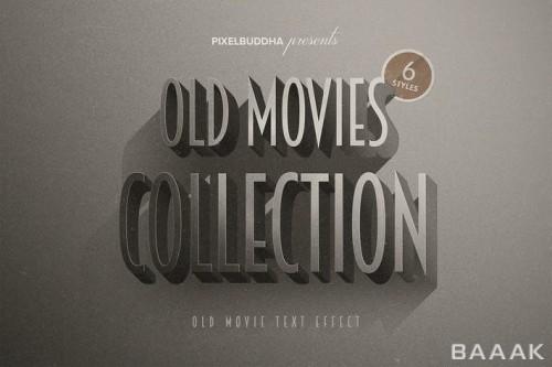 کالکشن افکت متن تایتل و عناوین فیلم های قدیمی سیاه و سفید برای فوتوشاپ