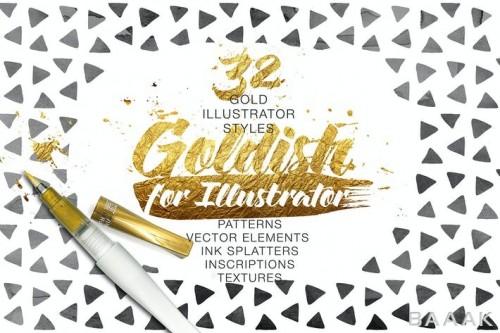 مجموعه 32 استایل و لایه یکپارچه طلایی، 8 پترن، 32 تکسچر و بافت طلایی و 9 لکه جوهر برای نرم افزار ایلوستریتور