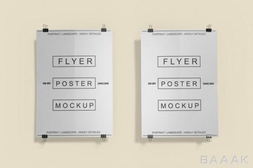 موکاپ پوستر و کاغذ آگهی از نمای نزدیک