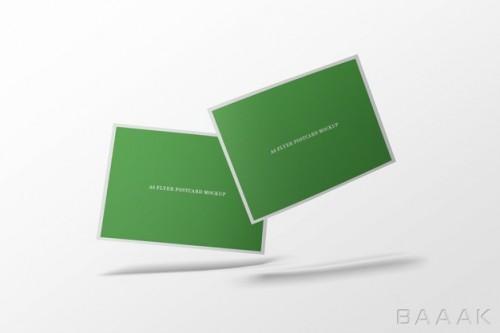موکاپ کارت پستال و بروشور های سبز رنگ