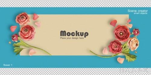 موکاپ سه بعدی کارت تبریک ولنتاین به همراه گل های رز
