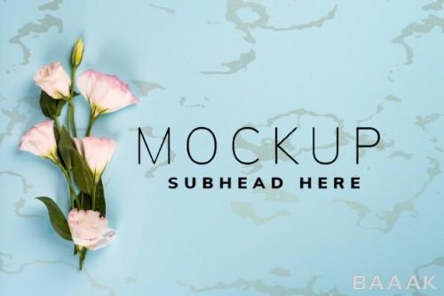 موکاپ کارت تبریک عروسی، روز مادر و روز ولنتاین با دسته گل زیبا اوستوما