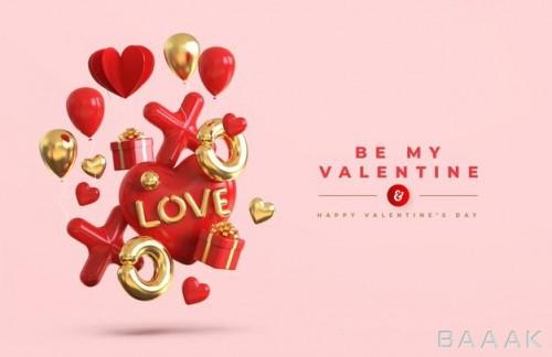 موکاپ بنر عاشقانه برای تبریک روز ولنتاین به همراه بادکنک و کادو های سه بعدی