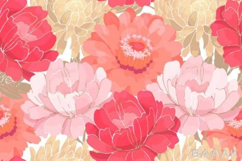 باغ گل های رنگارنگ به همراه برگ های بژی