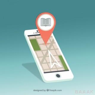 وکتور موبایل با طرح نشانگر مکان یابی