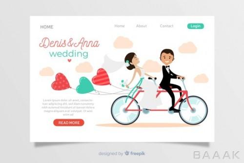 صفحه فرود طرح عروس و داماد بر روی دوچرخه با دیزاین فلت