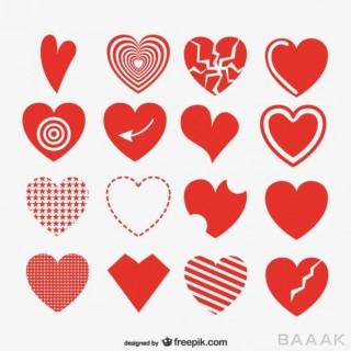 مجموعه وکتور های آماده قلب با رنگ قرمز