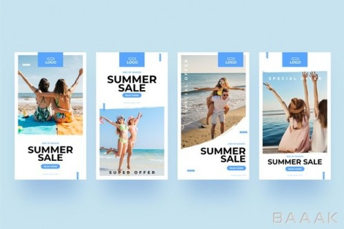 قالب های آماده استوری با طرح ساحل و فروش تابستانی