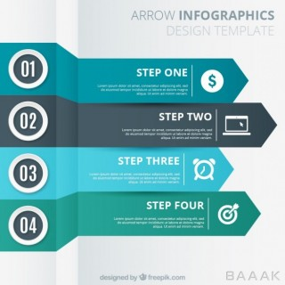 قالب اینفوگرافیک 4 مرحله ای با طرح پیکان و فلش