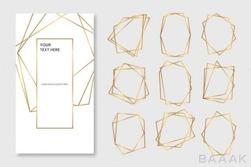 پک فریم و قاب طلایی و چند ضلعی