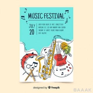 قالب پوستر با موضوع فستیوال موسیقی طرح ساز های مختلف