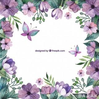 قاب و حاشیه گل های بنفش رنگ