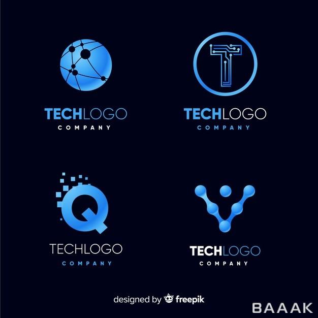 کالکشن-لوگو-آبی-رنگ-با-موضوع-تکنولوژی_916569998