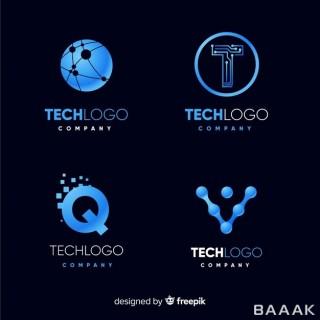 کالکشن لوگو آبی رنگ با موضوع تکنولوژی