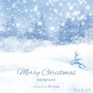 پس زمینه آبرنگی طرح زمستان سرد و برفی برای تبریک کریسمس