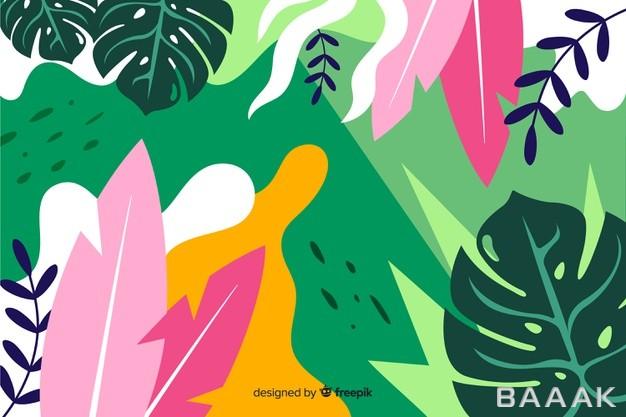 پس-زمینه-طرح-گیاهان-رنگارنگ-با-استایل-فلت_628235994