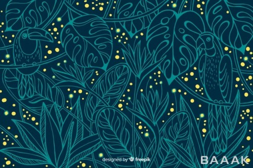 پس زمینه به طرح گیاه و برگ های سبز و نقطه های زرد رنگ
