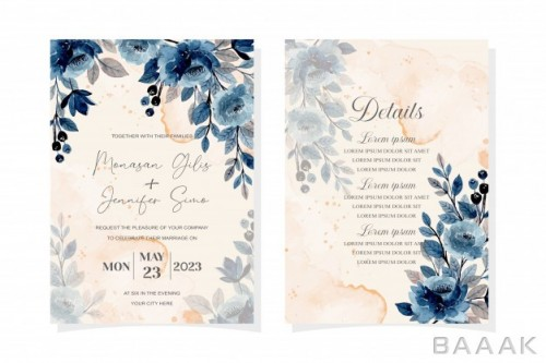 کارت دعوت جشن عروسی به همراه گل های آبی آبرنگی و پس زمینه انتزاعی
