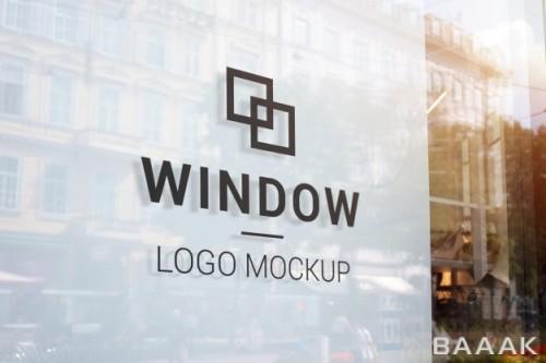 موکاپ آماده با طرح لوگو،شهر و نورهای خورشید