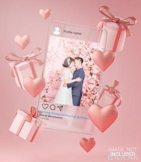 موکاپ و قالب آماده با طرح صفحه گوشی و قلب مخصوص ازدواج و ولنتاین