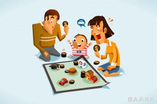 تصویر کارتونی خانواده در حال برنامه ریزی مالی