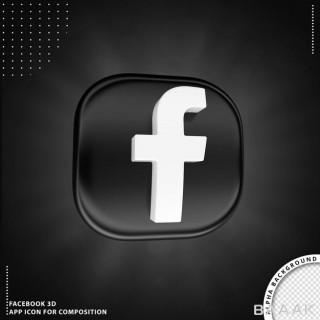 دکمه سه بعدی فیس بوک با زمینه مشکی