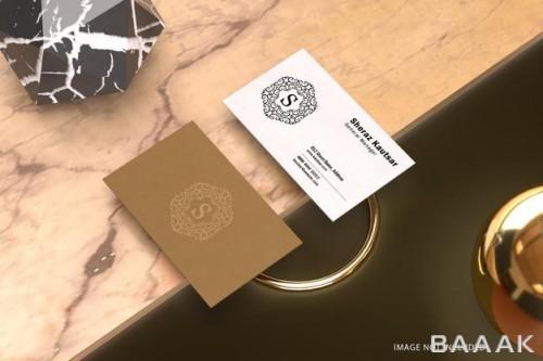 موکاپ کارت ویزیت تجاری با طرح لوکس و ساده