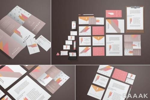 موکاپ لوازم تحریر شامل دفترچه، کارت ویزیت، پوستر، بروشور و ...