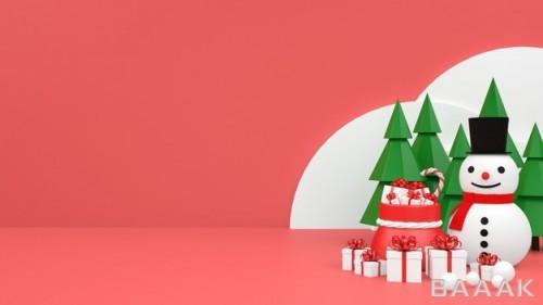 موکاپ با طراحی پاستل و موضوع کریسمس