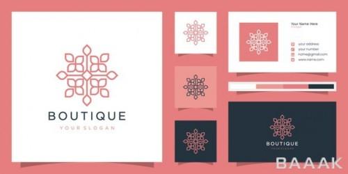 قالب کارت ویزیت Line art با لوگوی طرح گل
