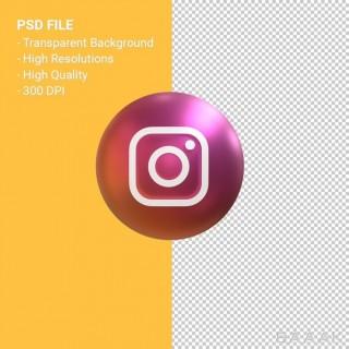 آیکون سه بعدی طرح لوگو اینستاگرام روی توپ گرد از نمای رو به رو