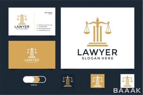 قالب کارت ویزیت جذاب برای وکلا (خدمات حقوقی) با لوگو ترازو