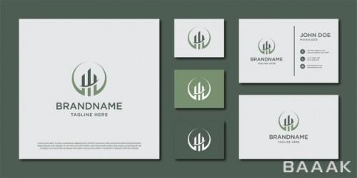ست قالب لوگو طرح ساختمان برای کارت ویزیت