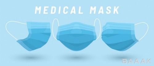 آیکون کاتونی ماسک سه لایه از سه نمای مختلف