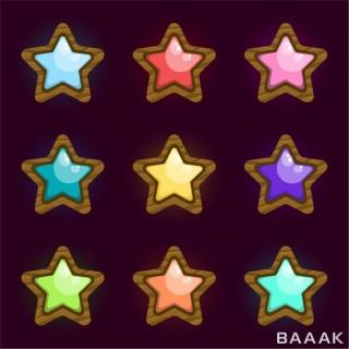 آیکون ستاره با رنگ های مختلف